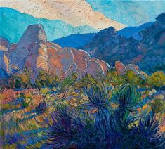 Joshua Tree California desert impressionism oil painting by Erin Hanson #OilPaintingScenery