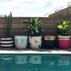 Design Twins' new pots are perfect for indoor plant trend - The Interiors Addict Painted Plant Pots, Painted Flower Pots, Cactus Plante, Flower Pot Design, Concrete Pots, Diy Planters, Handmade Home Decor, Plant Decor, Garden Pots