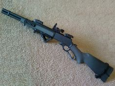 Marlin Model 1895c tactical-lever-action w/ Magpul BUIS; Angled Foregrip & Holosight.
