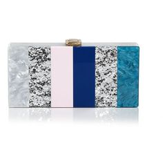 Milly Marble Box Clutch ($310) ❤ liked on Polyvore featuring bags, handbags, clutches, milly, box clutch, color block purse, color block handbags, party handbags and blue handbags