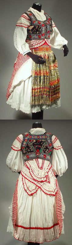Woman's Folk Costume from Tisovnik, Slovakia - rare skirt | decorated vest | brocade apron | blouse | crochet lace shawl