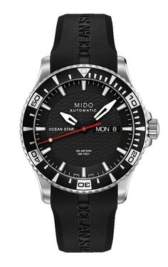 Mido Men's Ocean Star with a black, white and red dial and a rubber band. style #: M011.430.17.051.22 www.midowatch.com