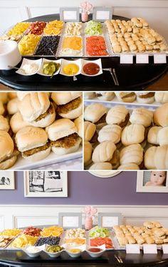 Build your own burger bar. Cute for baby shower. Mini burger bar for Meg's shower :) Sandwich Bar, Sandwich Station, Sandwich Ideas, Snacks Für Party, Bbq Party, Burger Bar Party, Party Appetizers, Party Food Bars, Fruit Party