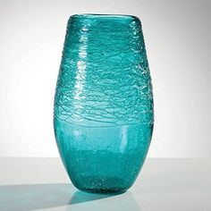 Torre & Tagus 902164B Glass Thread Turquoise Lustre Vase - Tall