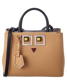FENDI Fendi Hypnoteyes 2Jours Petite Leather Satchel'. #fendi #bags #shoulder bags #hand bags #leather #satchel #lining #