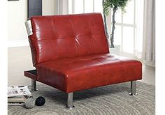 1PerfectChoice Bulle Contemporary Adjustable Chair Futon Sleeper Red Leatherette Side Pockets