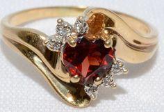 Fall Jewelry Finds: Heart Shaped Garnet & Diamond 14k Yellow Gold by LadyLibertyGold