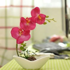 2  silk mini butterfly orchid artificial flowers decorative flower pot suit the living room tabl