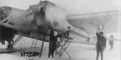 A Soviet Tupolev SB 2M-100A equipped with non-retractable skis. This photo taken in 1939 during the Winter War.