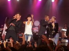 Miley crashed the stage later in the night as Robin Thicke, Leah Labelle and Pharrell performed at MySpace Launch Party!