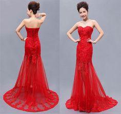 2014 Wedding dress Red evening dress, Lace prom dress, strapless long evening dress, Bridesmaid dress