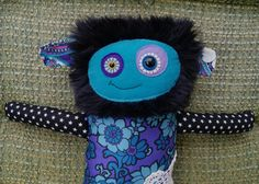 Funky monster softie recycled vintage fabric