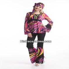 Disfracesmimo disfraz de chica hippie colorido adulto for Disfraces de los anos 60