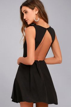 Lulus Exclusive! The party never has to stop in the Party Hop Black Backless Skater Dress! Soft, stretch woven fabric shapes a rounded neckline and sleeveless bodice atop a pleated skater skirt. A single covered button tops the sexy open back. Hidden back zipper/hook clasp.