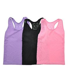 Angelina Pink Totem Seamless Racerback Tanks - Set of Three #zulily #zulilyfinds