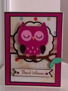 Cute thank you card using Create a Critter Cricut Cartridge