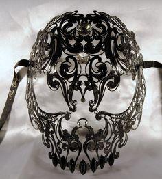 Skull venetian mask black in metal luxury mask by Cocone on Etsy,