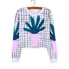 Drop shipping Plaided Cactus print girls cropped sweatshirts casual women clothes Autumn fashion Harajuku tracksuit wholesale
