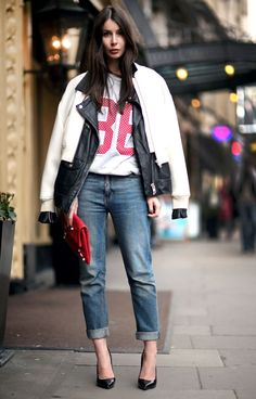 How to cuff your jeans, jeans, denim styling tips, jersey, moto jacket Casual Chic, Sporty Chic, Passion For Fashion, Love Fashion, Fashion Looks, Fashion Basics, Street Style, Street Chic, Street Fashion