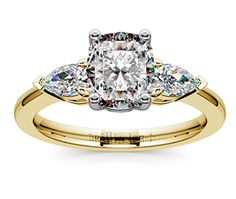 Cushion Pear Diamond Engagement Ring in Yellow Gold  http://www.brilliance.com/engagement-rings/pear-diamond-ring-yellow-gold-1/2-ctw