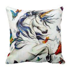 Unicorns & Butterflies Throw Pillow
