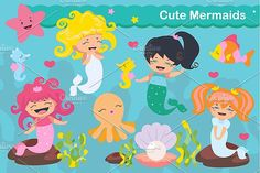 Cute kawaii mermaids by Darish on @creativemarket