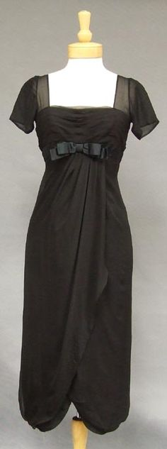 Howard Greer Black Chiffon Goddess Cocktail Dress w/ Tulip Hem