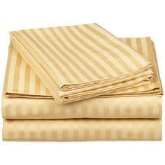 Simple Luxury Simply Luxury Microfiber 1500 Thread Count Stripe Sheet Set, Gold
