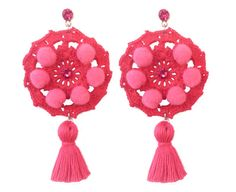 EARRINGS CROCHET POMPOM tassel fuchsia big light pink por SissiHand