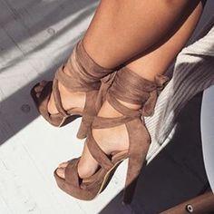 Shoespie Platform Lace Up Sandals