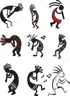 Kokopelli designs- one of my paternal grandmother's favorite symbols Native American Symbols, Native American Design, Arte Tribal, Tribal Art, Celtic Tatoo, Indian Symbols, Doodles Zentangles, Gourd Art, Aboriginal Art