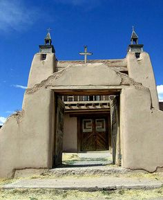 Las Trampas Church New Mexico: Historic Church in rural New Mexico Front Door Paint Colors, Painted Front Doors, Old Churches, Catholic Churches, Beautiful Front Doors, New Mexico Usa, Church News, New Mexican, Land Of Enchantment