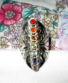 RING - HEALING - CHAKRA - Gemstones - Wide - Tall - Filigree - Ornate - 925  - Sterling Silver - Vintage - Size 7 1/2   Multi38 by MOONCHILD111 on Etsy