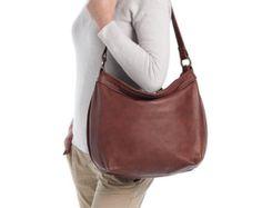 Besace en cuir marron - cuir souple - sacs en cuir pour femme - besace sac - grand HELEN