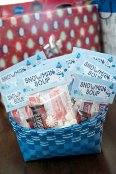 Boys Winter Wonderland Themed Birthday Party Favor Ideas Snowman Soup - hot chocolate party favor