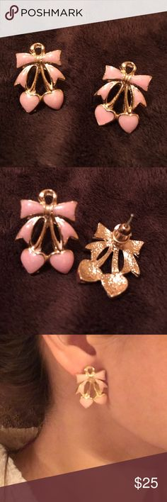 Very pretty pair of earrings! ❤️️ Lovely pair. See last photo, I have tiny ears but would probably look better with bigger ears 👂just my opinion. So cute either way. Good quality pieces of jewelry, not cheap plastic kind. Unmarked. Pls check my closet 😊❤️️ Jewelry Earrings
