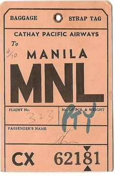 Creative -, Cathay, Pacific, Airlines, and Mnl image ideas & inspiration on Designspiration Ticket Design, Tag Design, Graphic Design, Kelly Wearstler, Vintage Ephemera, Vintage Paper, Baggage Tag, Vintage Luggage Tags, Luggage Labels