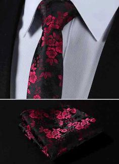 "TF2005R17 Red Black skinny floral 2.75"" 100%Silk Woven Slim Skinny Narrow Men Tie Necktie Handkerchief Pocket Square Suit Set"