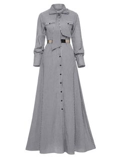 Please allow size difference. Women Striped Maxi Dress Floor-length Bowknot Tie Long Sleeve Loose Button Dress Spring Pocket Elegant A-line Casual Long Dress (Notice:Not included the belt) Abaya Fashion, Muslim Fashion, Fashion Outfits, Dress Fashion, Striped Shirt Dress, Striped Maxi Dresses, Stylish Dresses, Casual Dresses, Long Dresses