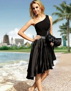 3605931dcaa0 Click to Buy    Black One Shoulder Asymmetrical Short Prom Dresses Beaded  Crystal