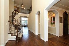 stairs wood and white combo!! Wood Floors*Metal Spindles