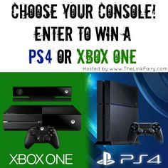 PS4 or XBox One Giveaway  Enter to win your choice of either PS4 or XBox One console  Make your holidays a little brighter with either a new XBOX ONE or PS4 gaming console! Whichever your preference, it can be yours!   Giveaway open to United States residents 18+. Ends 12/21/14.