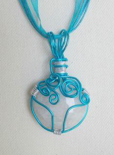 Turquoise White Quartz Necklace, Turquoise Wire White Quartz Necklace, White Quartz Necklace, Turquoise Ribbon Necklace, Ribbon Necklace
