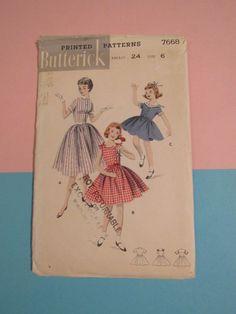 1950s Sewing Pattern Butterick 7668 Girls by VendageTresors