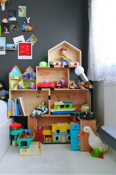These are very cute, fun shelves, but this idea also just gave me THEEEE best inspiration for a doll-house <3