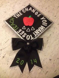 Education graduation cap I like the bow hanging off of the hat. Not crazy about the design. The bow would be cute on a disney one. Graduation 2016, Nursing School Graduation, Graduation Cap Designs, Graduation Cap Decoration, Graduation Pictures, Cap Decorations, And So It Begins, Cute Crafts, Cap Ideas