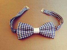 Cotton Mens Bow Tie  Navy Blue Gingham  PreTied by KristineBridal, $35.70