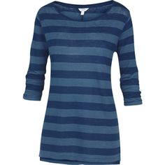 Fat Face Linen Three Quarter Sleeve Rugby Stripe T-Shirt (€45) ❤ liked on Polyvore featuring tops, t-shirts, indigo, stripe t shirt, 3/4 sleeve t shirts, blue top, linen t shirt and striped t shirt