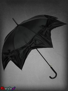 black star drapped umbrella with little roses