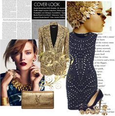 """Navy Gold"" by spherus ❤ liked on Polyvore"